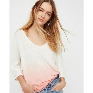 NEW Free People Linen Blend Ombre Tee